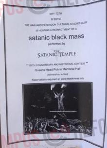 A Recent Flyer for a Black Mass at Harvard Law School.