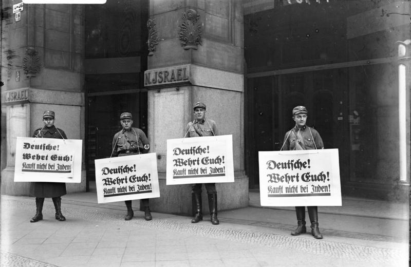 German Gentiles Peacefully Protesting/Boycotting Jews in Pre-war Germany In Front of Jew Dept Store.  De-Jevu?