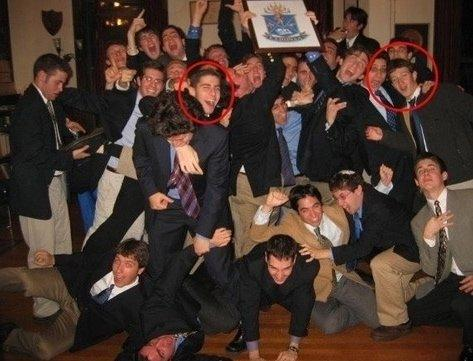 Mark Zuckerberg (right circle) with his Jewish brothers in Harvard's Alpha Epsilon Pi Jewish fraternity, and Facebook co-founder Eduardo Saverin (left circle).