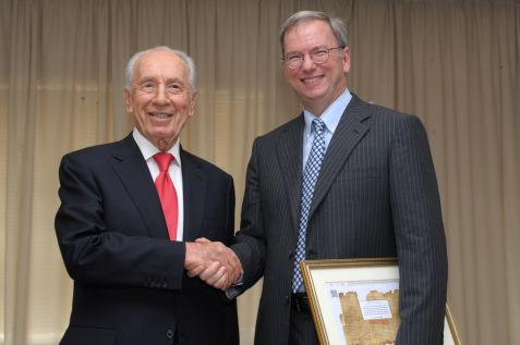 Shimon Peres and Google Executive Chairman Eric Schmidt