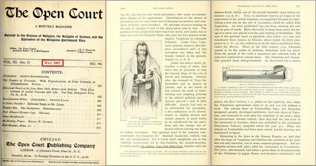 "This 1897 ""Science of Religion"" American magazine, claims nearly six million Jews were killed in the Bar Kokhba revolt 132-136AD. What a laugh!"