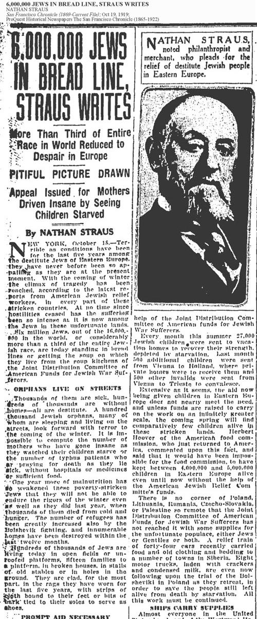 Elder of Zion Nathan Straus published this article in the San Francisco Chronicle claiming 6,000,000 Jews were in peril.