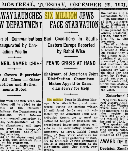 6 million Jews at threat of starvation in the 30's