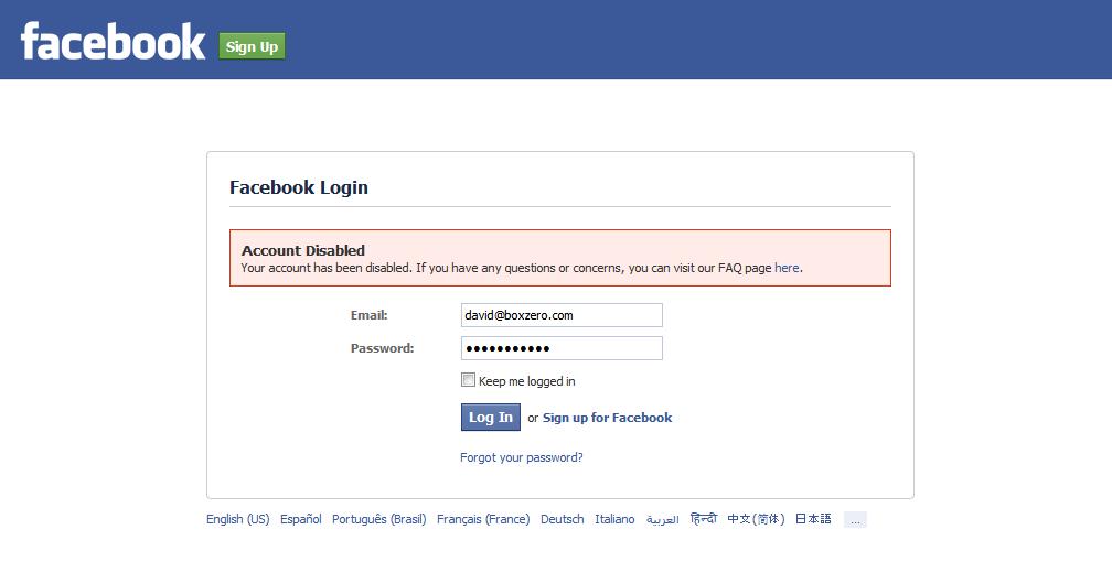 Facebook Disabled