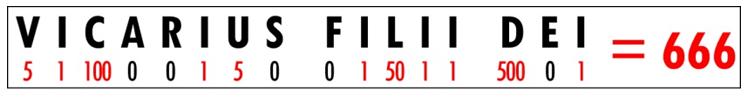 VicariusFiliiDei=666