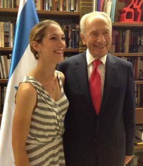 Arielle Zuckerberg with Israeli President Shimon Peres